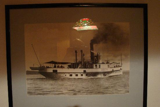 Bayerische Seen Schifffahrt: Framed Photo of old Steamer Ship/Ferry Andechs