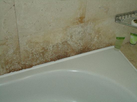 Crowne Plaza Hotel Abu Dhabi: Mold like growth around the bathtub