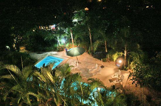 Funky Monkey Lodge: pool at night