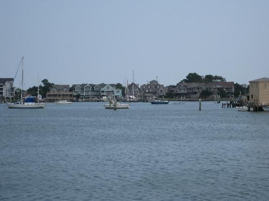 The teal building is the Ocracoke Harbor Inn