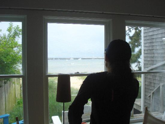 Aerie House & Beach Club: Looking out the back window to the harbor