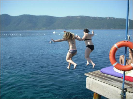 Bodrum Holiday Resort & Spa: jumping off the pier into the sea, so fun