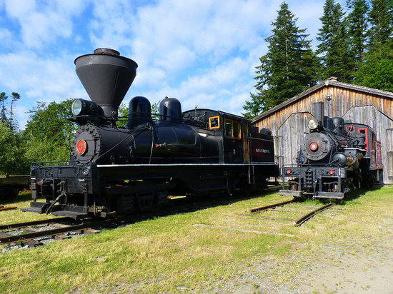 B.C. Forest Discovery Centre: Steam Locies No. 3 and 9 in the logging camp.