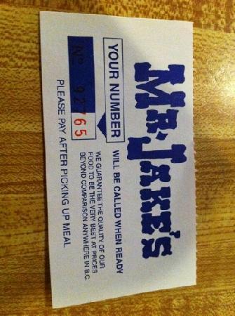 Mr Jake's Steakhouse: order number