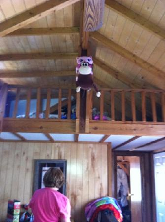 Prospectors RV Resort: my kids back packs in loft of cabin 10