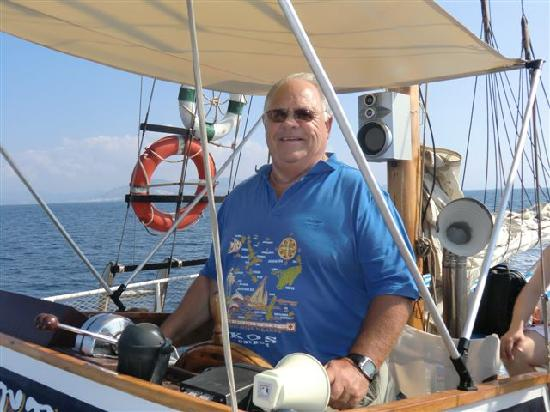 Katerina 3 Island Cruise : Myself at the Helm.