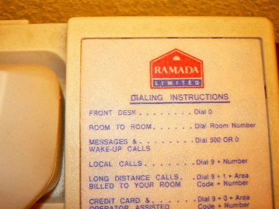 Howard Johnson Inn Beaufort/Parris Island: RAMADA INN phone at HOJO's