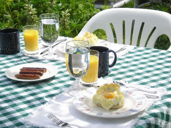 Six Chimneys & A Dream: Breakfast featured here is Cornish Baked Eggs and sausages, orange juice and a great cup of coff