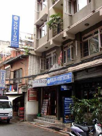 Hotel Norling Nepal: The front of our guest house in historic Thamel