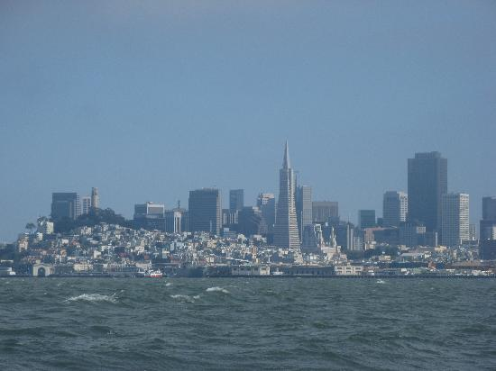 The San Francisco skyline as seen from the bay.