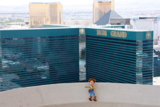 Signature at MGM Grand: Our View from the balcony (and Woody, who stows away in family suitcases to each others surprise