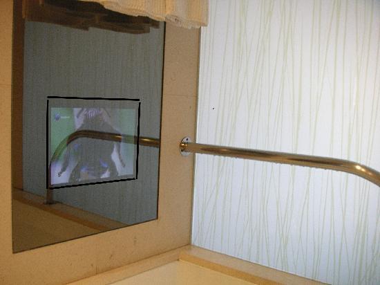 Porto Palacio Congress Hotel & Spa: Bildschirm vor der Badewanne