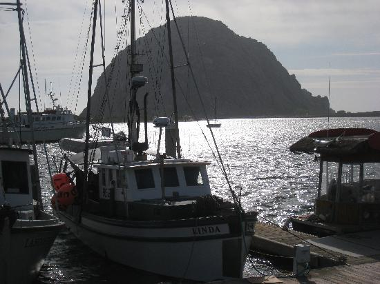 Galley Seafood Grill & Bar: Morro Bay, harbour & Rock