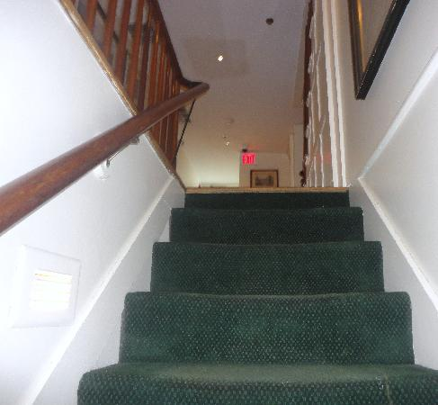 Griswold Inn: stairs up to the rooms in the main building
