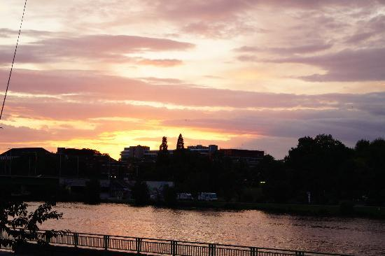 Das Bootshaus: Sunset from the terrace.