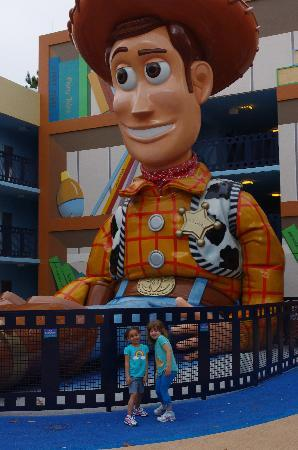 Disney's All-Star Movies Resort: giant woody outside our door to the left