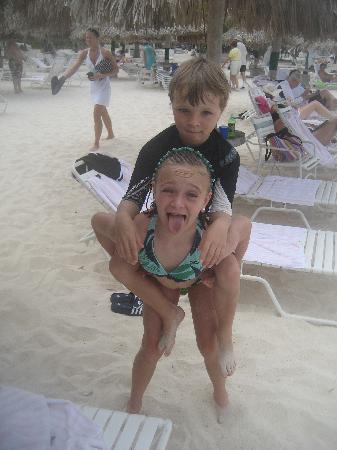Marriott's Aruba Ocean Club: My son, (now 9, then 7) and daughter on the beach