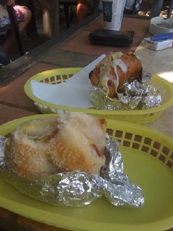 The Tuckaway Bagel & Wafel Cafe : steamed bagel sandwich