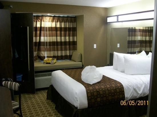 Microtel Inn & Suites by Wyndham Dickinson : excuse my mess, but this is my room. LOVE IT!