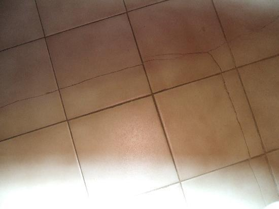 Carriage Hills Resort: cracks in both bathroom floor tiles