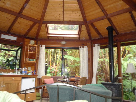 Volcano Rainforest Retreat: View from one side of the cottage.