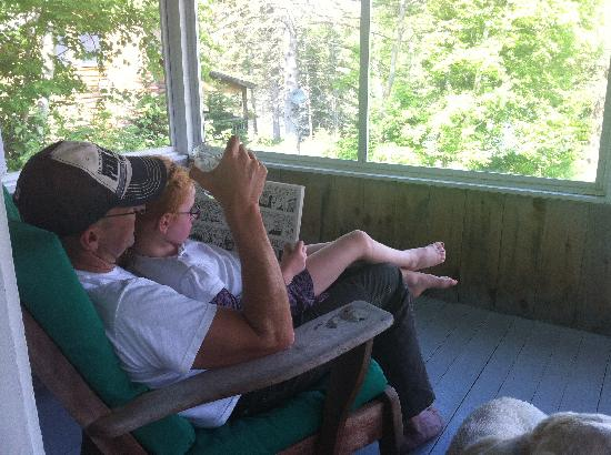 Hunter Cove Cabins on Rangeley Lake: a quiet book on the porch..