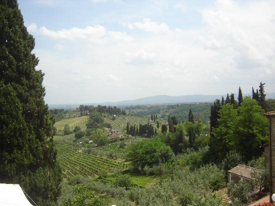 Fabio Apartments San Gimignano: View from our favourite restaurant in SG