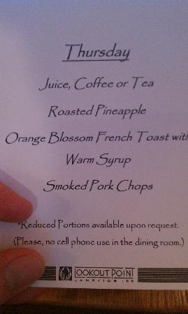 Lookout Point Lakeside Inn: Great menu for breakfast.  You won't find porkchops on the menu at a Hampton Inn!