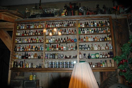 Timber Mine Restaurant: About one fourth of their mini bottle collection at the Timbermine