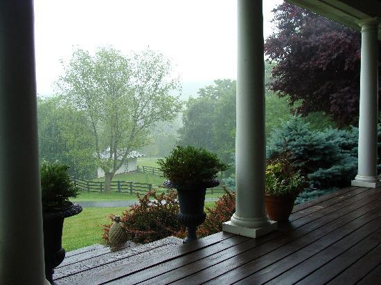 The Welsh Hills Inn: a view from the wrap around porch