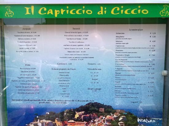 il nostro menù - Picture of Il capriccio di ciccio, Sestri Levante ...