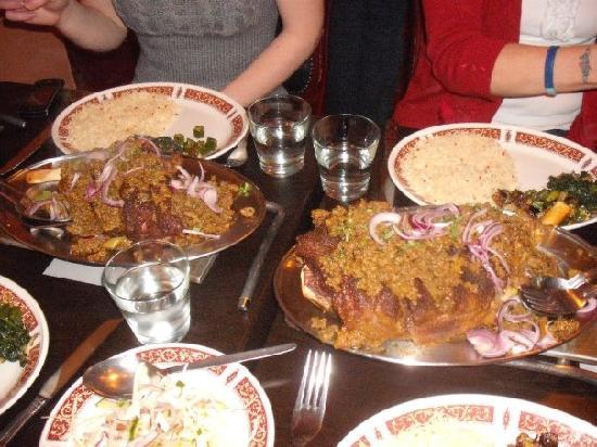 JamaL's Exclusive Indian Cuisine: JamaL's in Cleethorpes; Whole leg of lamb marinated in a secret blend of herbs & spices.