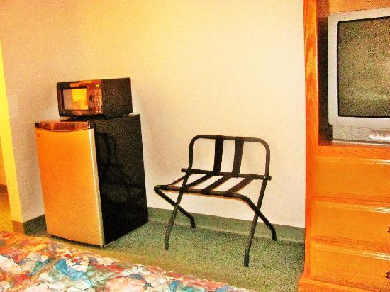 Sun Country Inn : The frig, microwave and luggage rack...