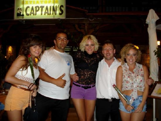Captains Restaurant: PIXIE LOTT with her friends, Stu and Theo at Captain's Restaurant 27th june 2011