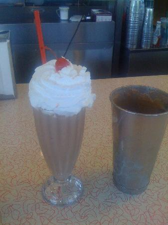 Be-Bops Diner: Old-fashioned chocolate milkshake made with malt.