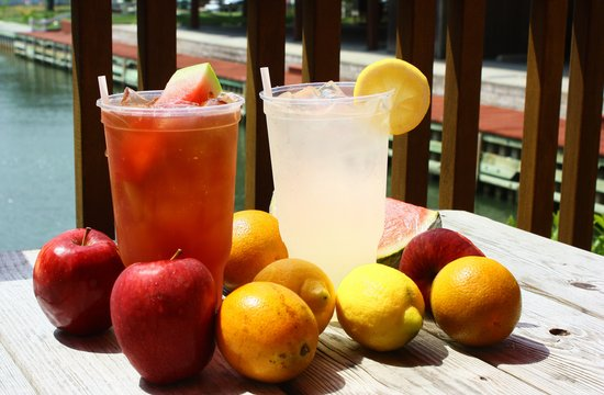 Crazy 8's: Our Fresh Fruit Iced Teas and Fresh Squeezed Lemonade out on the bayfront deck