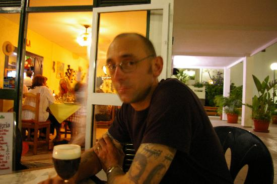 Casa Tres: My partner enjoying a glass of the black stuff