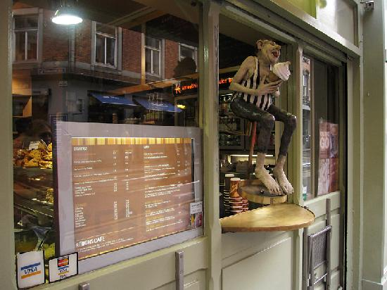 Keoghs Cafe: Take-out window (with a funky looking statute dude nearby)