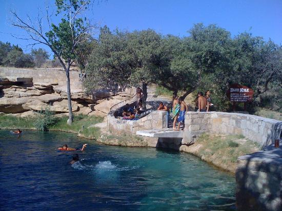 Blue Hole: 100+ degree weather drew the crowd.