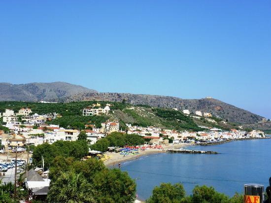 View of Church and Beach from Villa Georgia Veranda