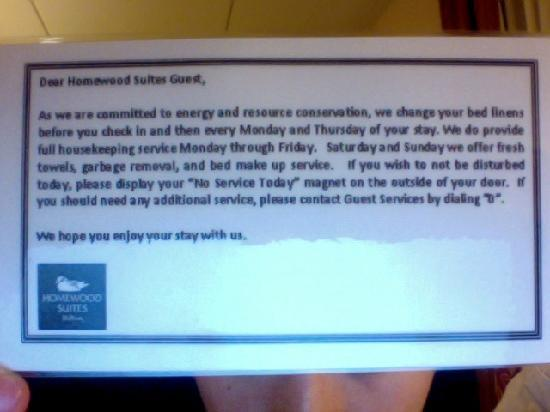 Homewood Suites Madison West: Hotel Cleaning Policy.  Did not adhere to it at all.
