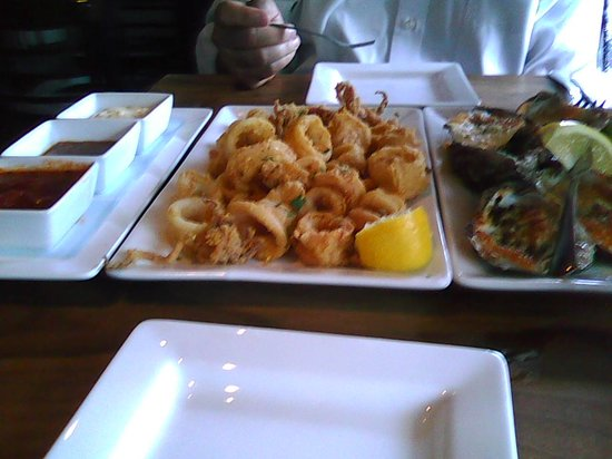 Gray Goose: Oysters and Calamari - not a bad start!