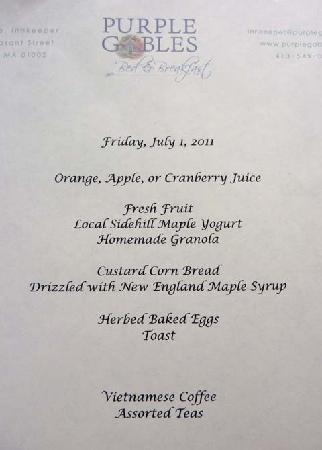 Amherst, MA: Breakfast Menu
