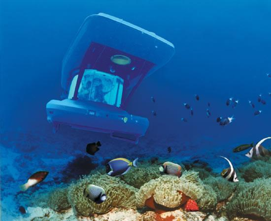 Trou aux Biches : Le sous-marin BS 600 croisant par 35 mètres de profondeur