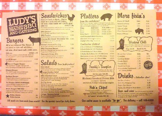 Menu Picture Of Ludy S Main Street Bbq Woodland Tripadvisor