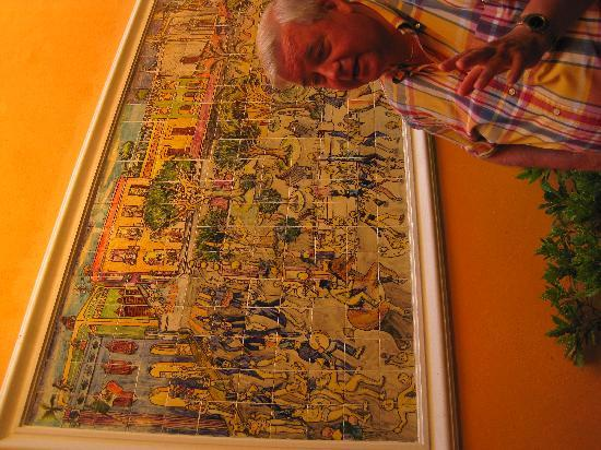 Valladolid, México: John explaining one of the murals he contracted.