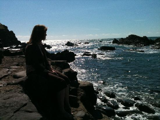 Hartland Quay Hotel: My wife just chilling on a rock, about 8pm - July 2011