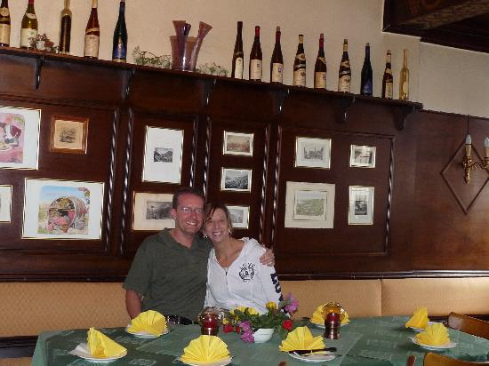 "Hotel Kranenturm: Lisa & Todd, last day of honeymoon, in ""secret"" room of restaurant"