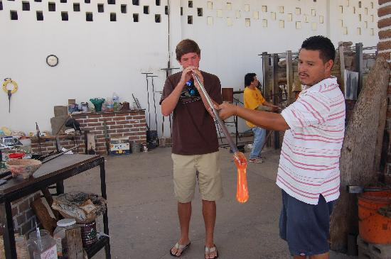 The Glass Factory: Blowing glass