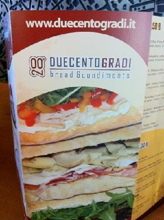DUECENTOGRADI: menù